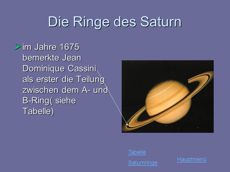 Die Ringe des Saturn im Jahre 1675 bemerkte Jean Dominique Cassini als erster die Teilung zwischen dem A- und B-Ring( siehe Tabelle)
