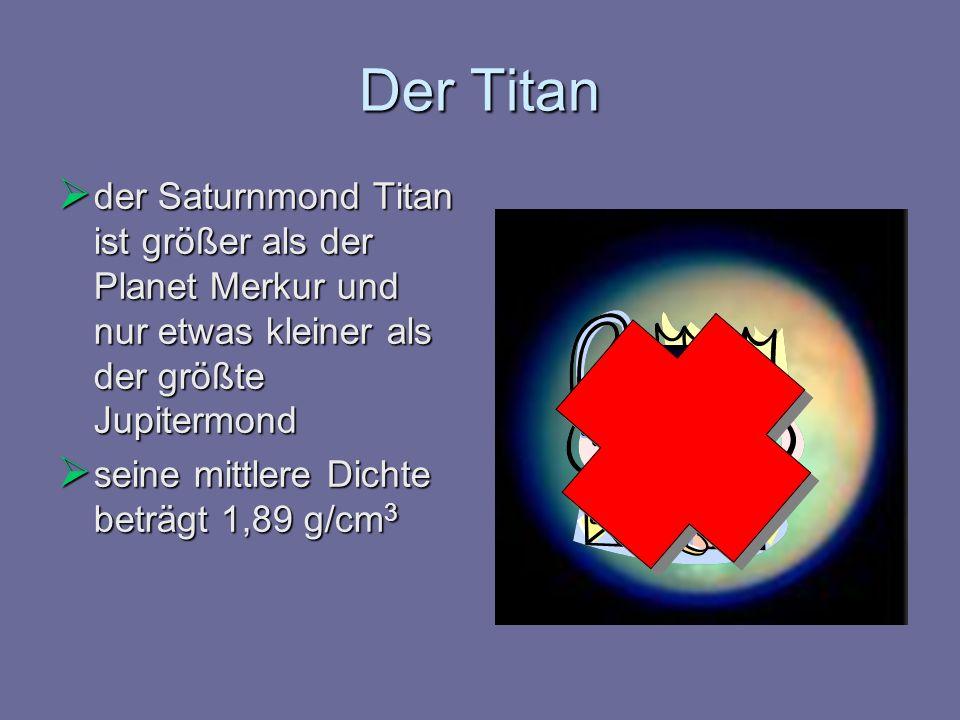 Der Titan der Saturnmond Titan ist größer als der Planet Merkur und nur etwas kleiner als der größte Jupitermond.