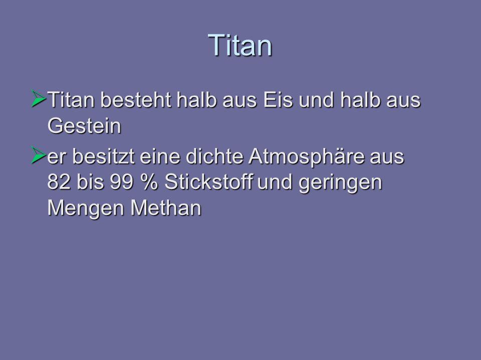 Titan Titan besteht halb aus Eis und halb aus Gestein