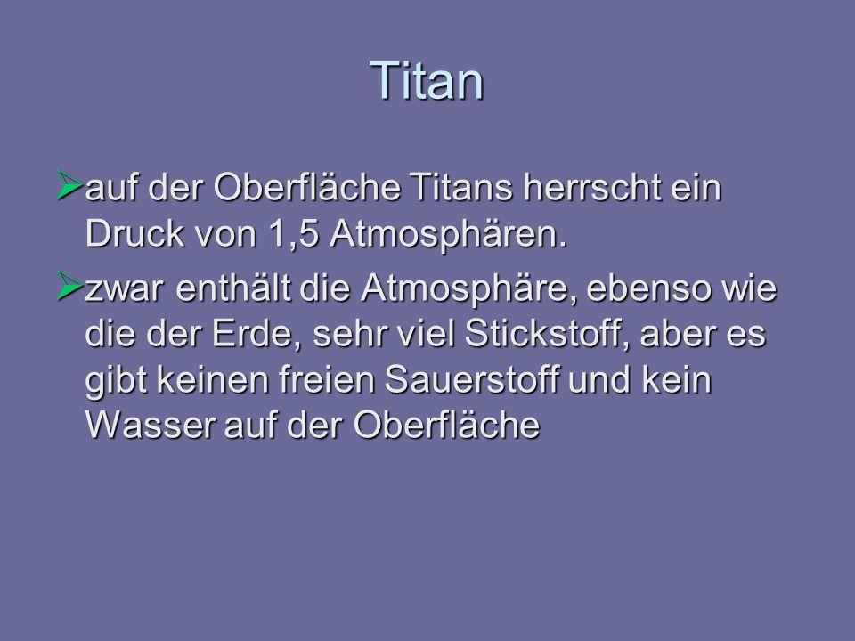 Titan auf der Oberfläche Titans herrscht ein Druck von 1,5 Atmosphären.