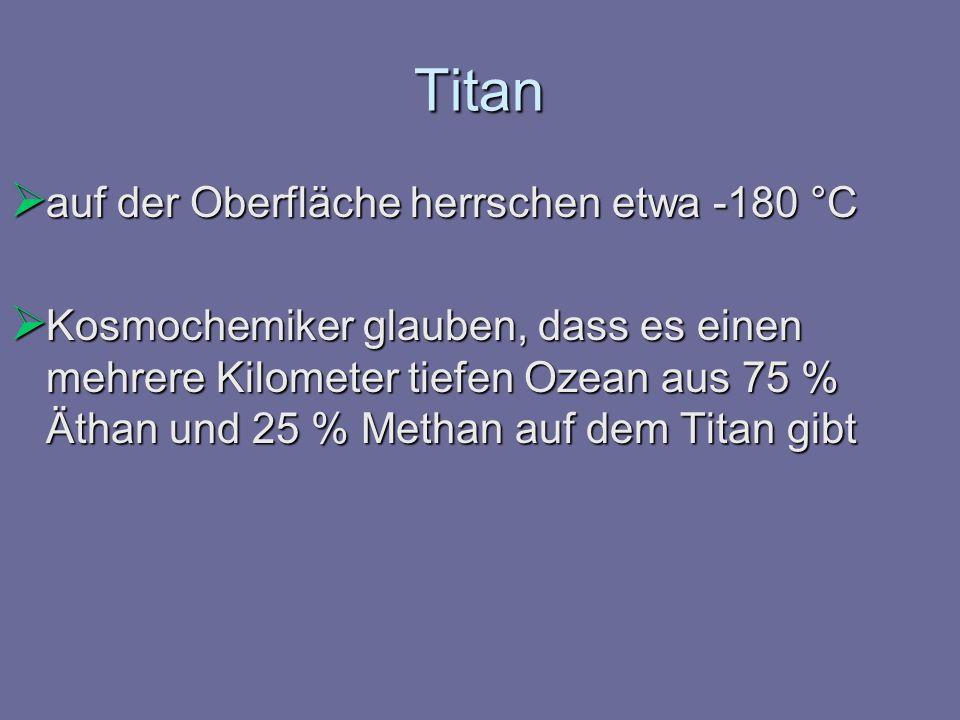 Titan auf der Oberfläche herrschen etwa -180 °C