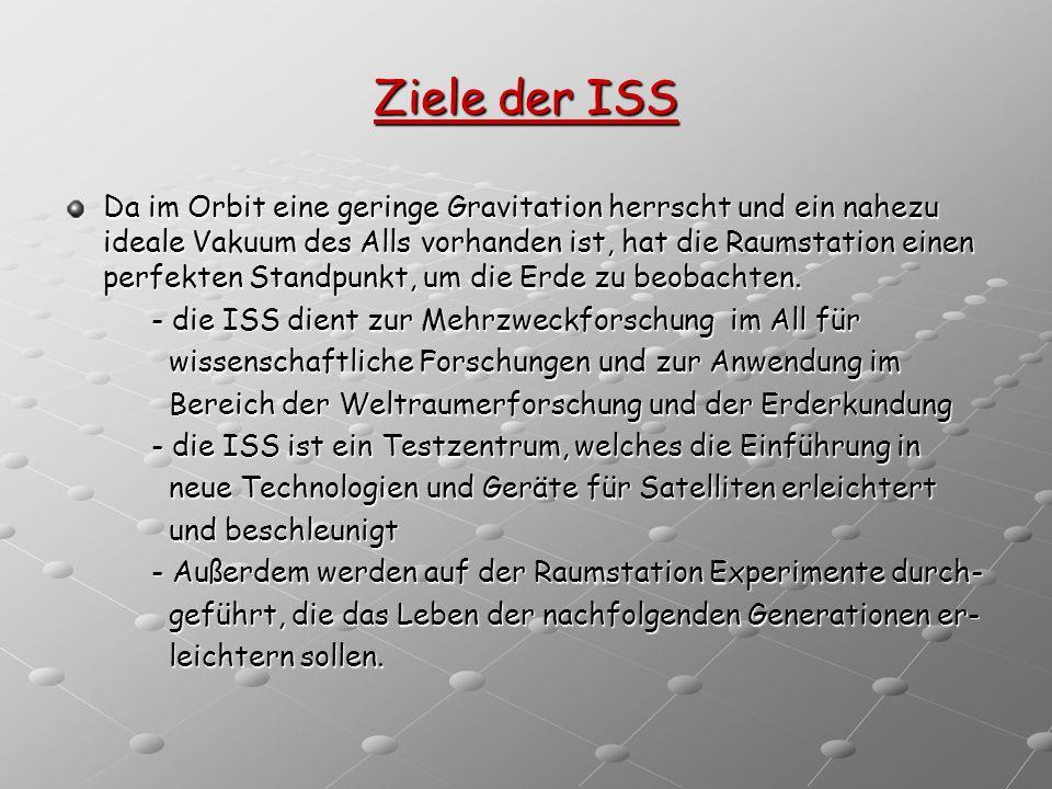 Ziele der ISS