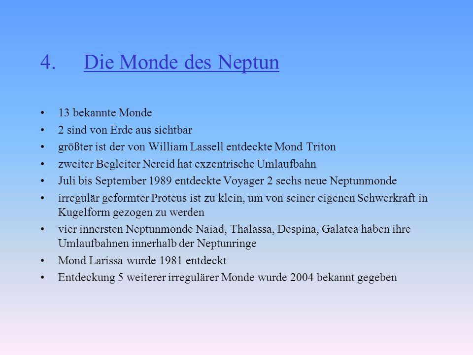 Die Monde des Neptun 13 bekannte Monde 2 sind von Erde aus sichtbar