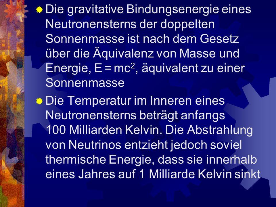Die gravitative Bindungsenergie eines Neutronensterns der doppelten Sonnenmasse ist nach dem Gesetz über die Äquivalenz von Masse und Energie, E = mc2, äquivalent zu einer Sonnenmasse