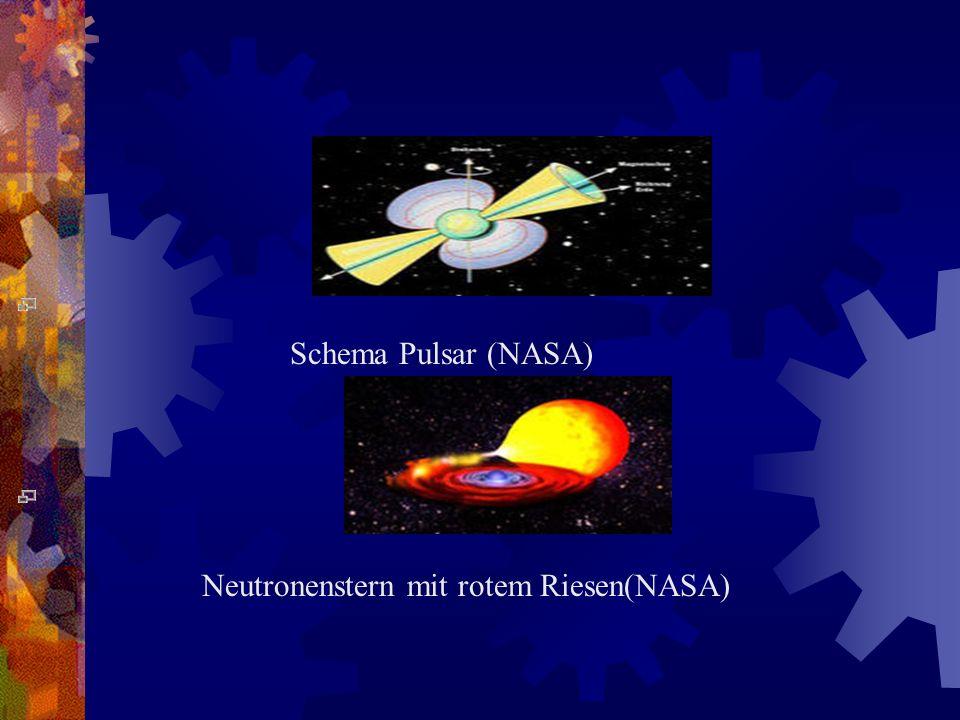 Schema Pulsar (NASA) Neutronenstern mit rotem Riesen(NASA)