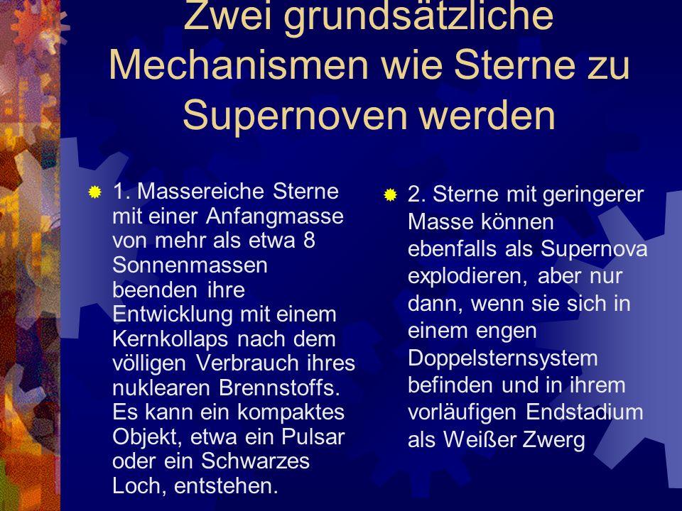 Zwei grundsätzliche Mechanismen wie Sterne zu Supernoven werden