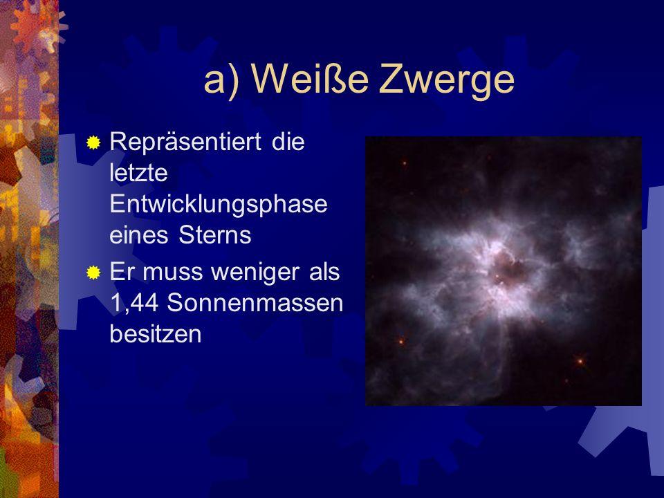 a) Weiße Zwerge Repräsentiert die letzte Entwicklungsphase eines Sterns.