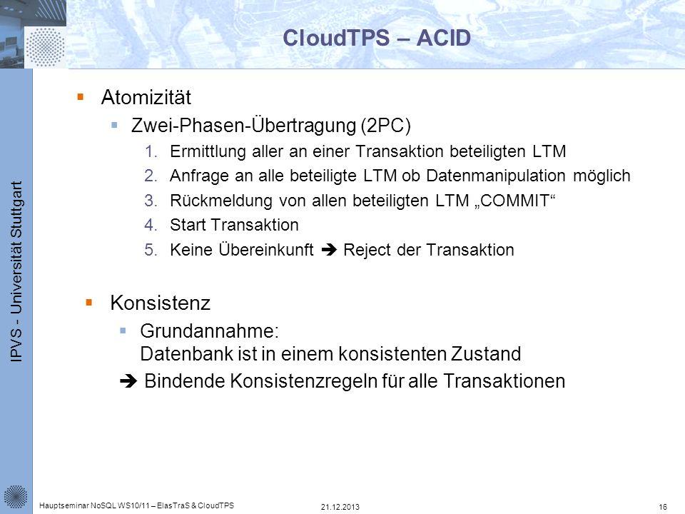 CloudTPS – ACID Atomizität Konsistenz Zwei-Phasen-Übertragung (2PC)
