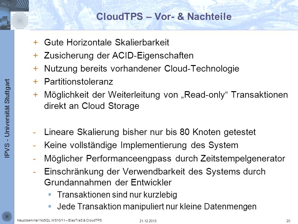 CloudTPS – Vor- & Nachteile