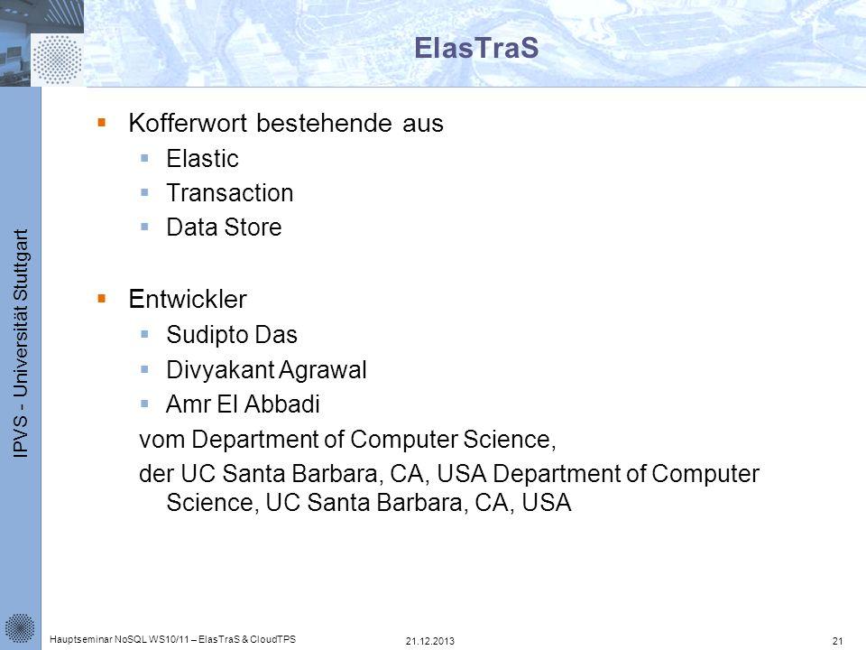 ElasTraS Kofferwort bestehende aus Entwickler Elastic Transaction