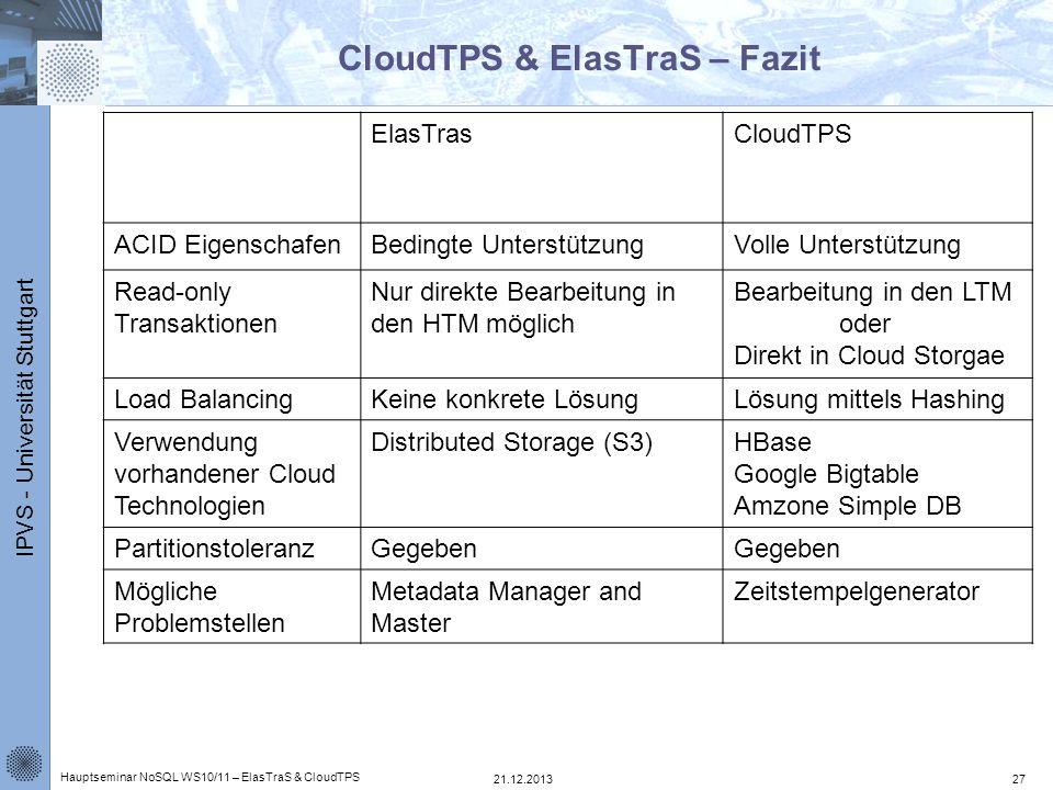CloudTPS & ElasTraS – Fazit