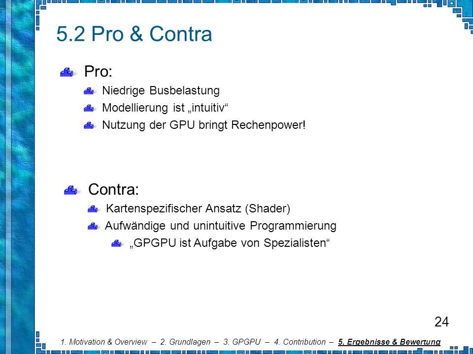 5.2 Pro & Contra Pro: Contra: 24 Niedrige Busbelastung
