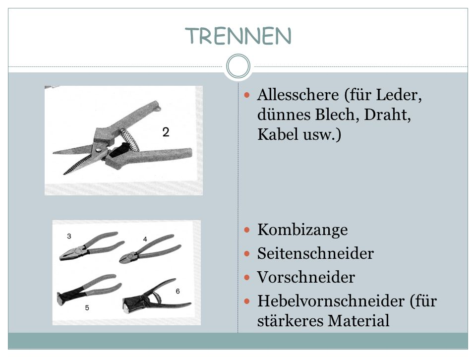 TRENNEN Allesschere (für Leder, dünnes Blech, Draht, Kabel usw.)