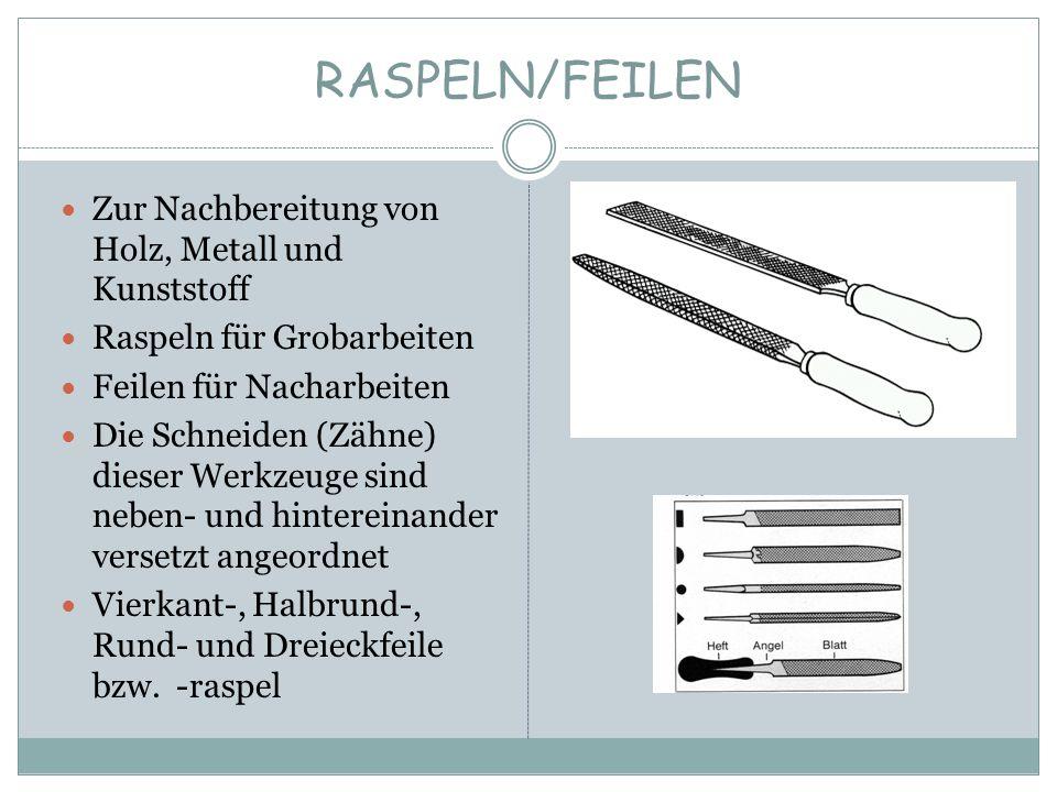 RASPELN/FEILEN Zur Nachbereitung von Holz, Metall und Kunststoff