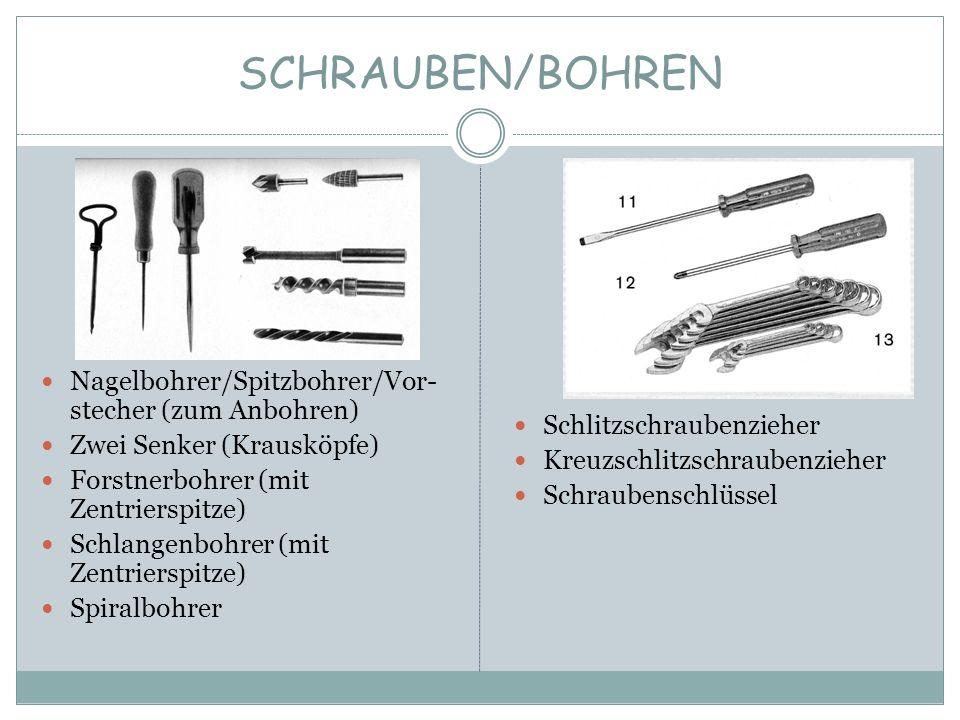 SCHRAUBEN/BOHREN Nagelbohrer/Spitzbohrer/Vor-stecher (zum Anbohren)