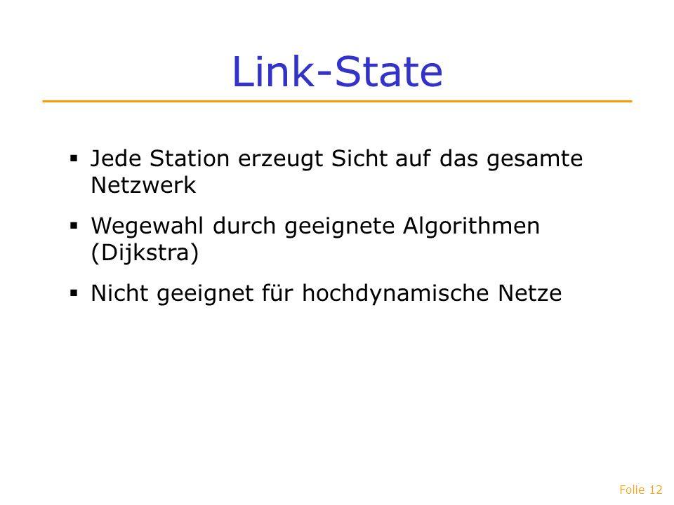 Link-State Jede Station erzeugt Sicht auf das gesamte Netzwerk