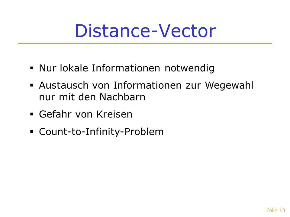 Distance-Vector Nur lokale Informationen notwendig