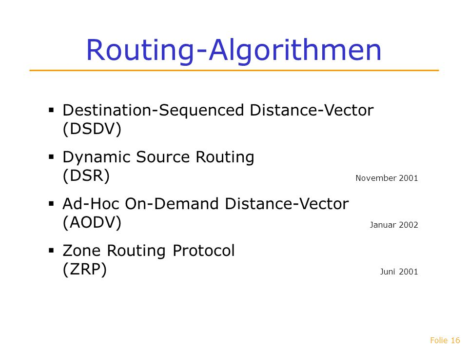 Routing-Algorithmen Destination-Sequenced Distance-Vector (DSDV)