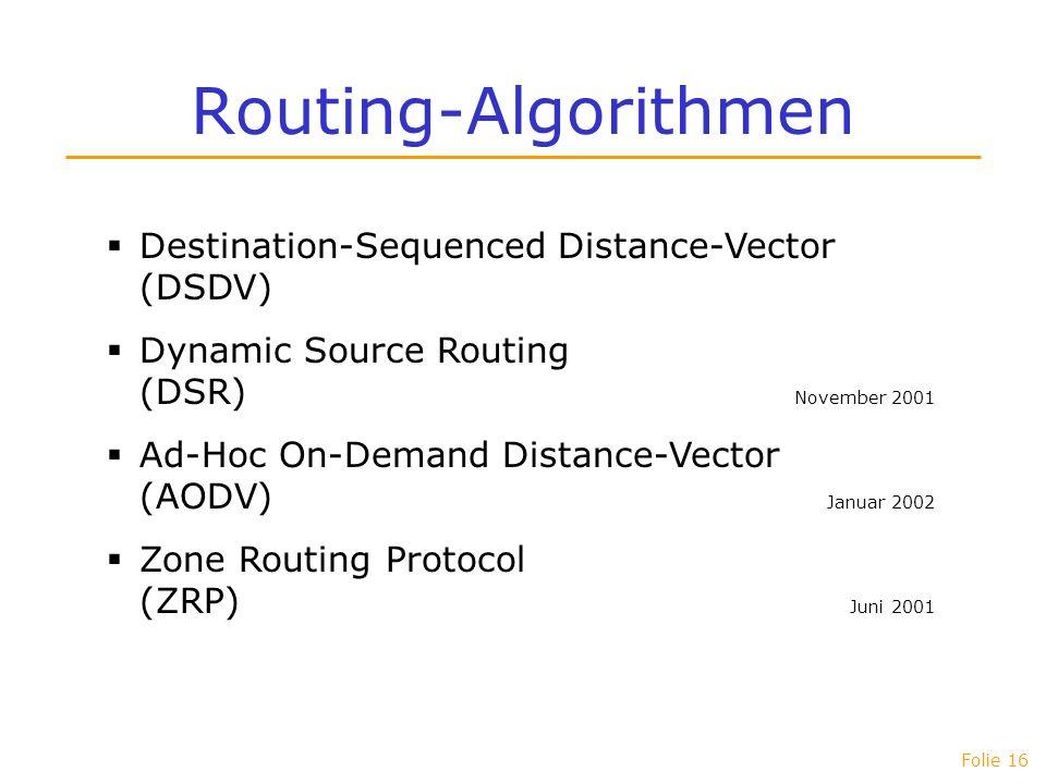 Routing-Algorithmen Destination-Sequenced Distance-Vector (DSDV)