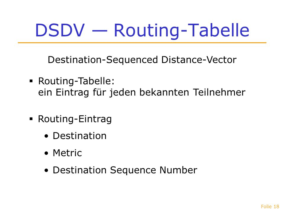 DSDV — Routing-Tabelle