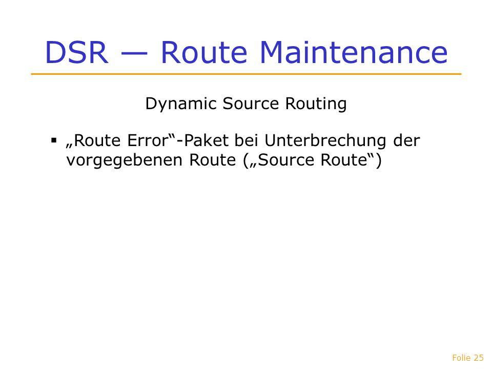 DSR — Route Maintenance