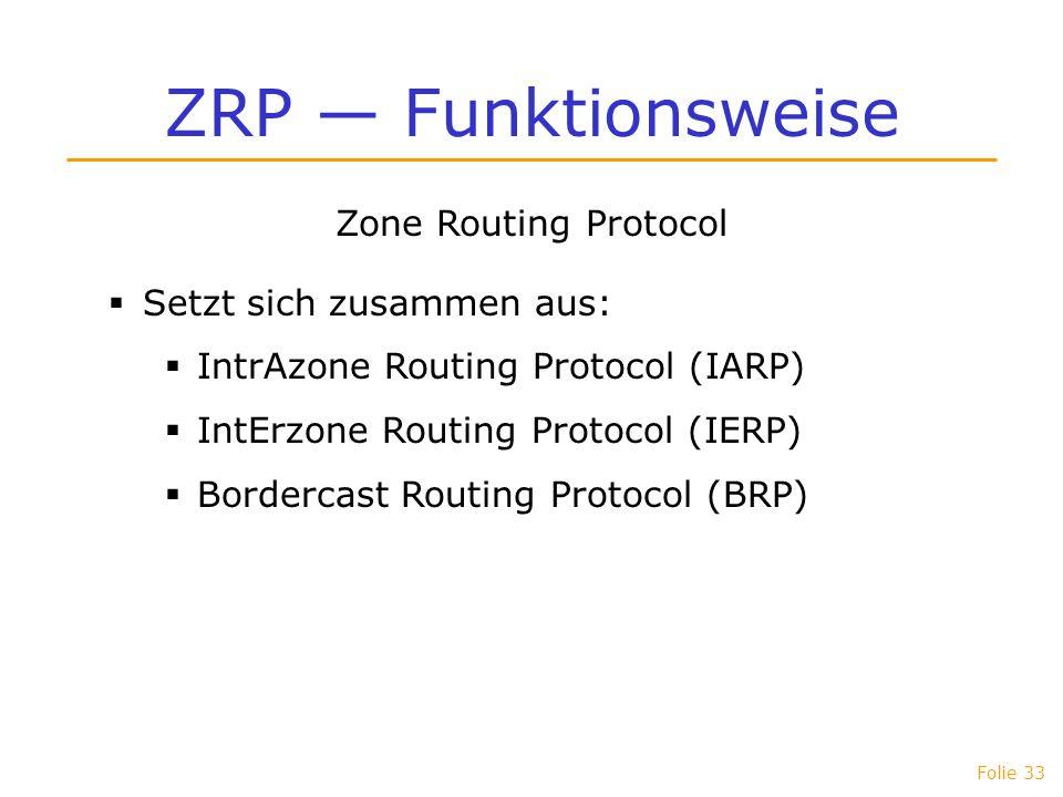 ZRP — Funktionsweise Zone Routing Protocol Setzt sich zusammen aus: