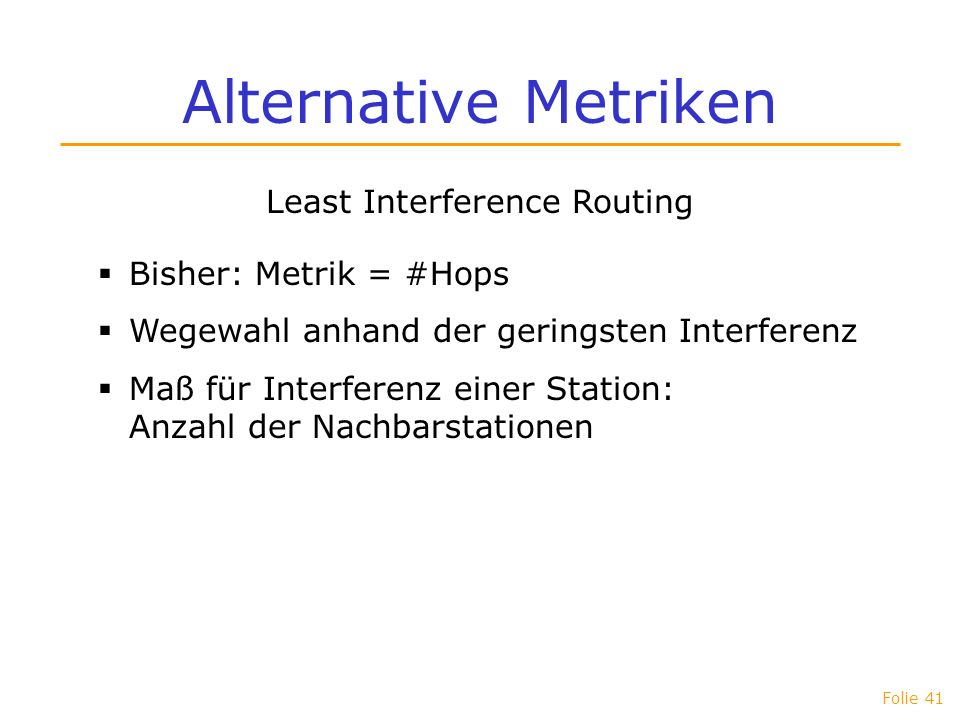 Least Interference Routing