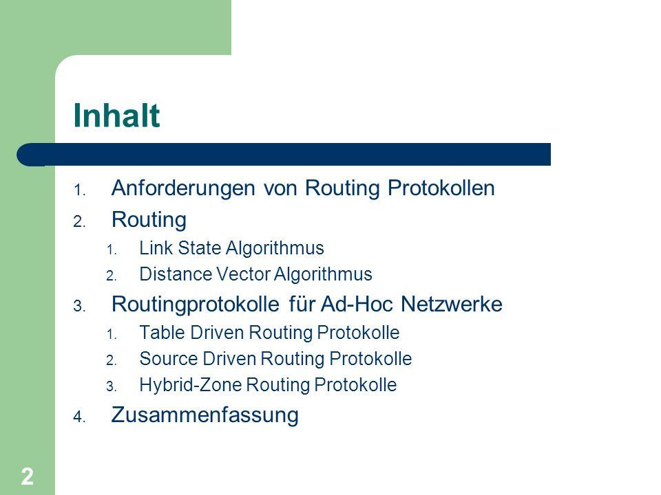 Inhalt Anforderungen von Routing Protokollen Routing
