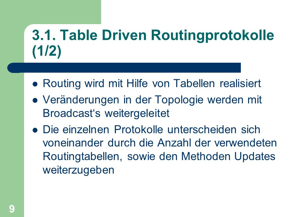 3.1. Table Driven Routingprotokolle (1/2)