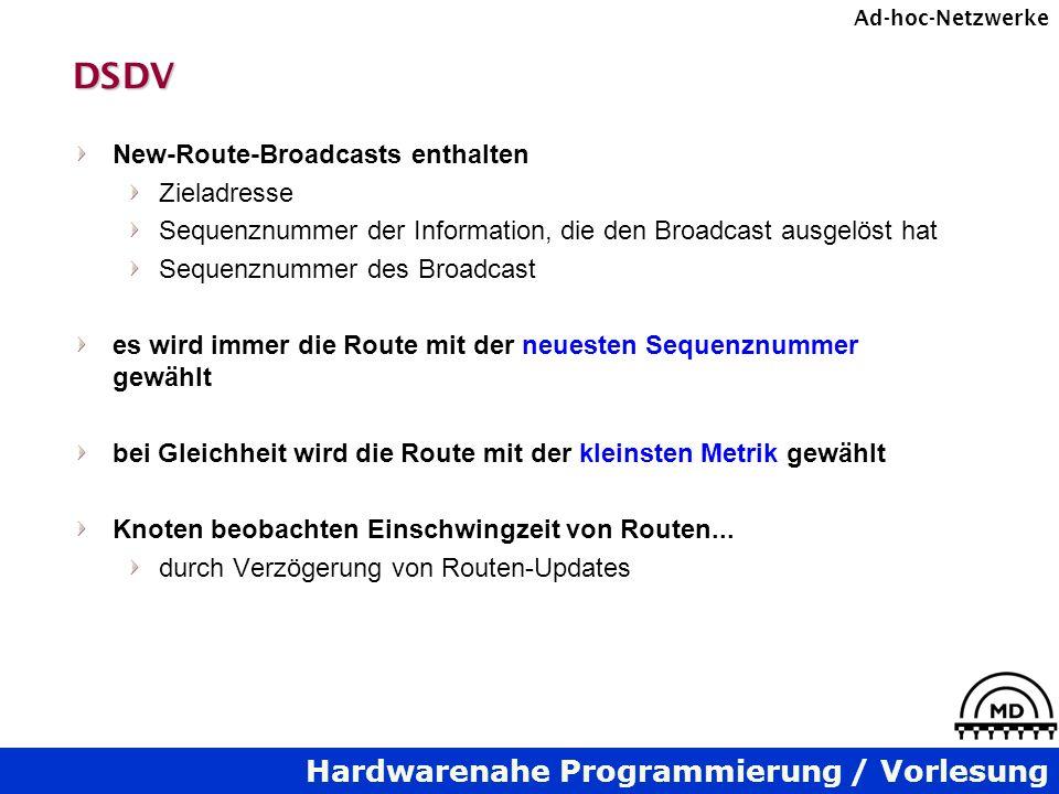 DSDV New-Route-Broadcasts enthalten Zieladresse