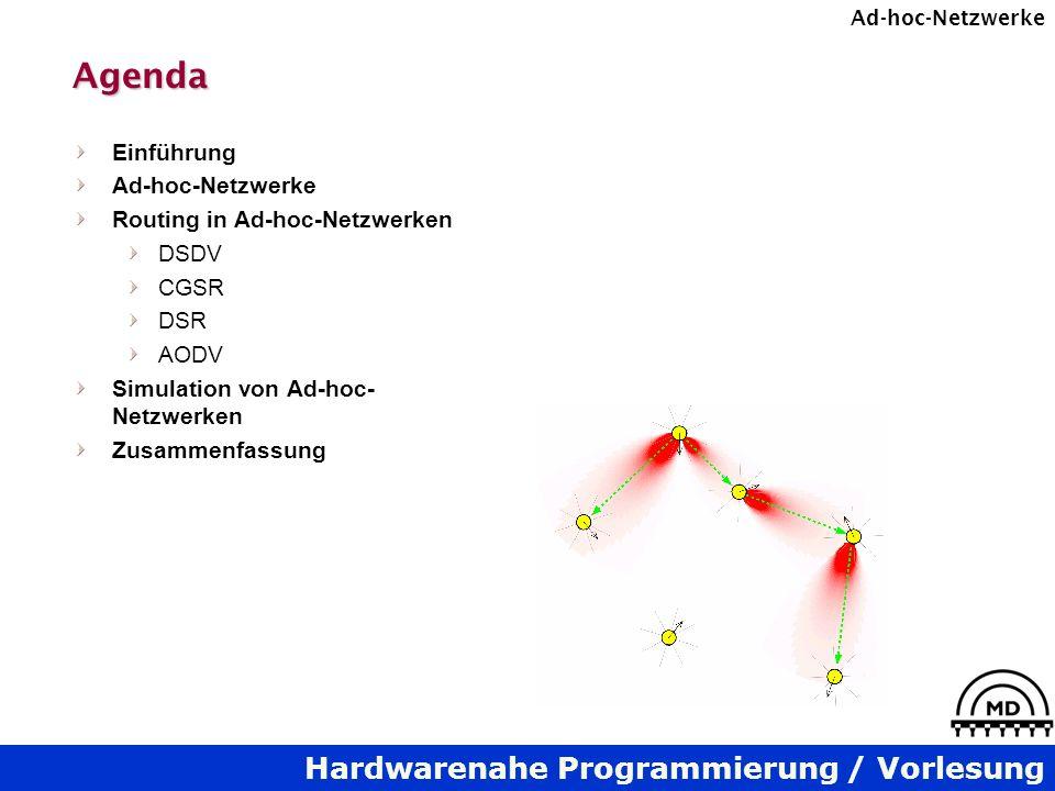 Agenda Einführung Ad-hoc-Netzwerke Routing in Ad-hoc-Netzwerken DSDV
