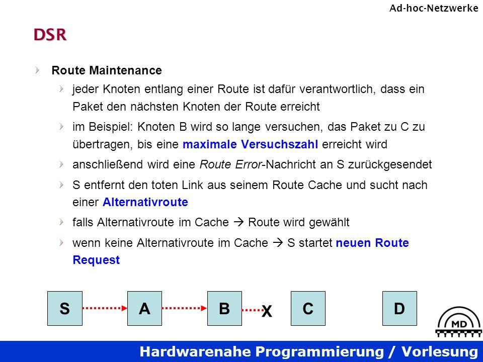 DSR S A B C D X Route Maintenance