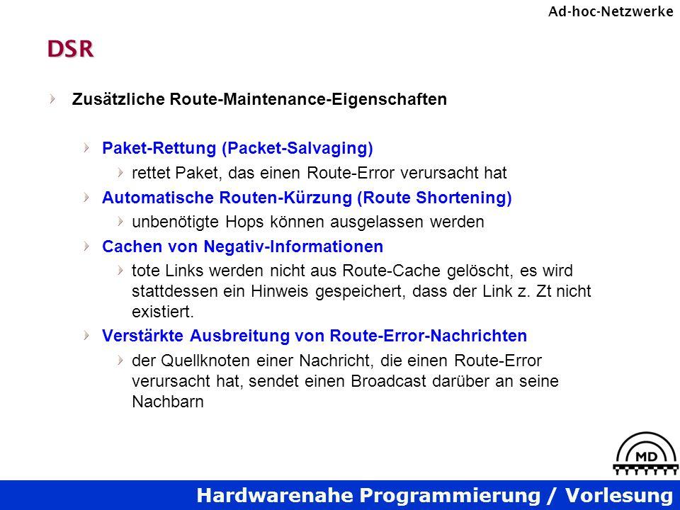 DSR Zusätzliche Route-Maintenance-Eigenschaften