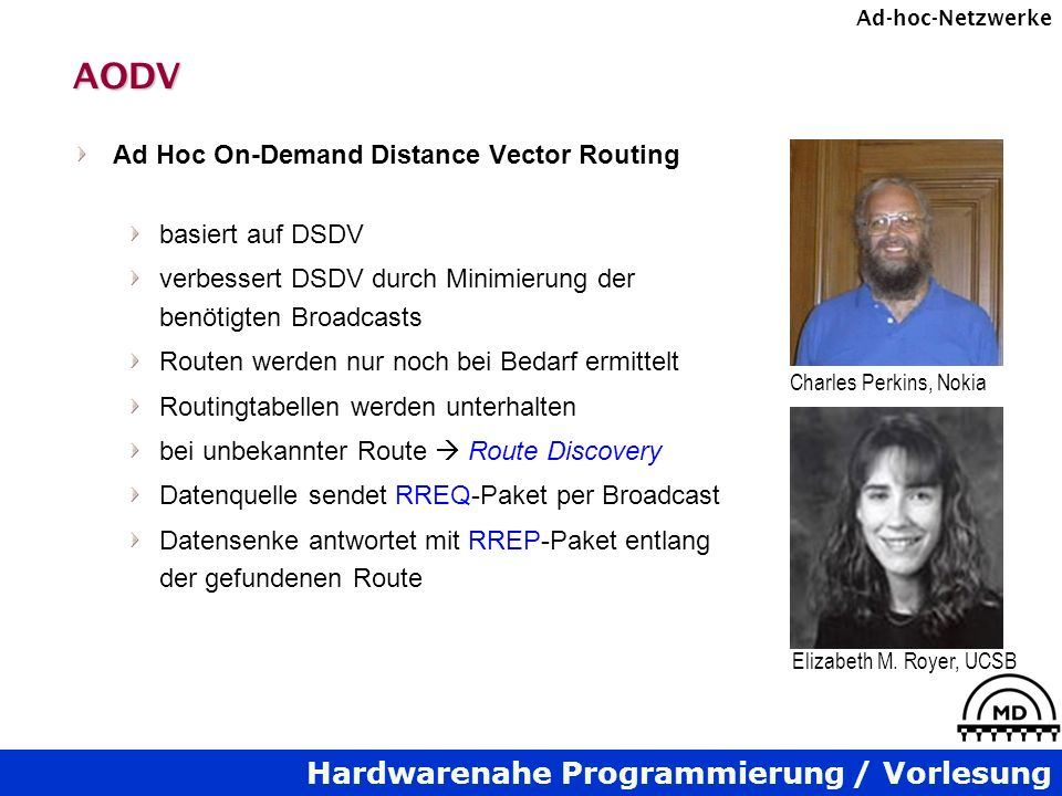 AODV Ad Hoc On-Demand Distance Vector Routing basiert auf DSDV