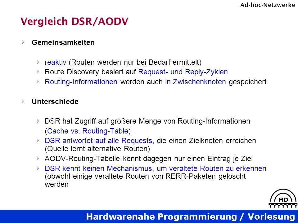 Vergleich DSR/AODV Gemeinsamkeiten