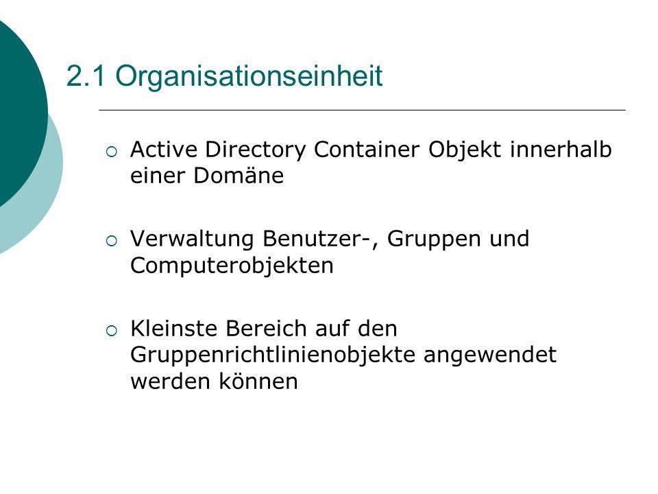 2.1 Organisationseinheit