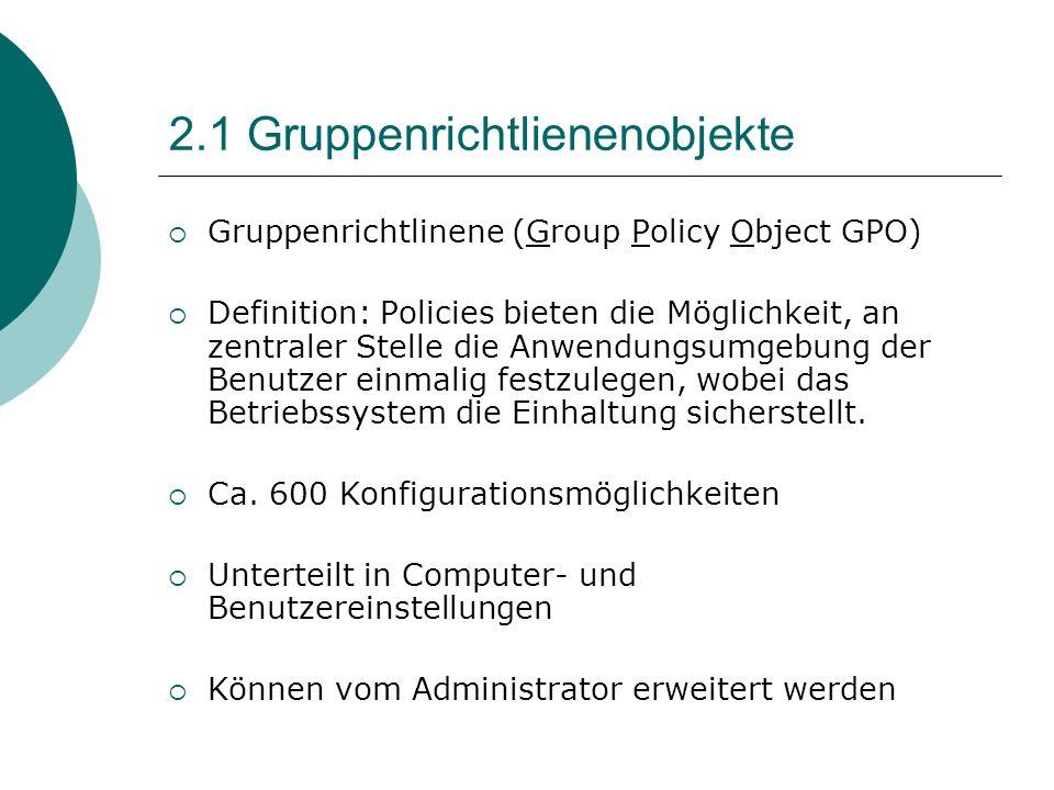 2.1 Gruppenrichtlienenobjekte