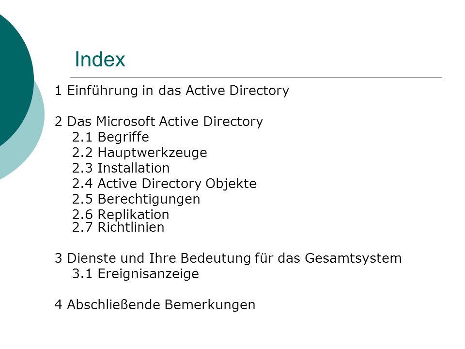 Index 1 Einführung in das Active Directory