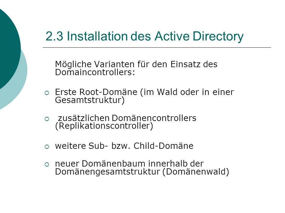 2.3 Installation des Active Directory