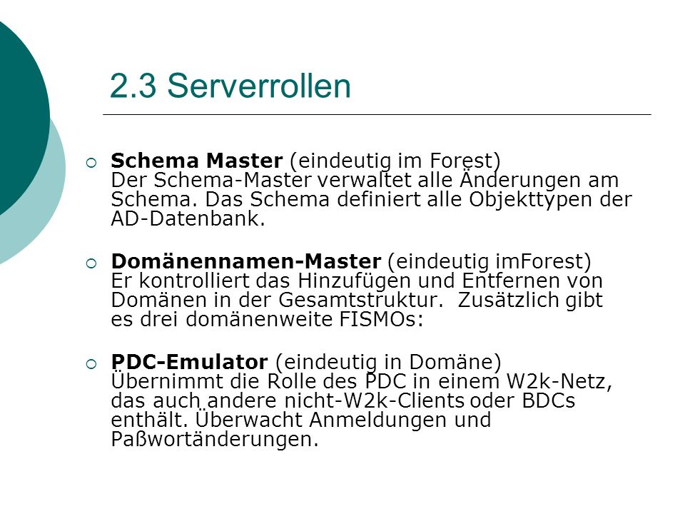 2.3 Serverrollen