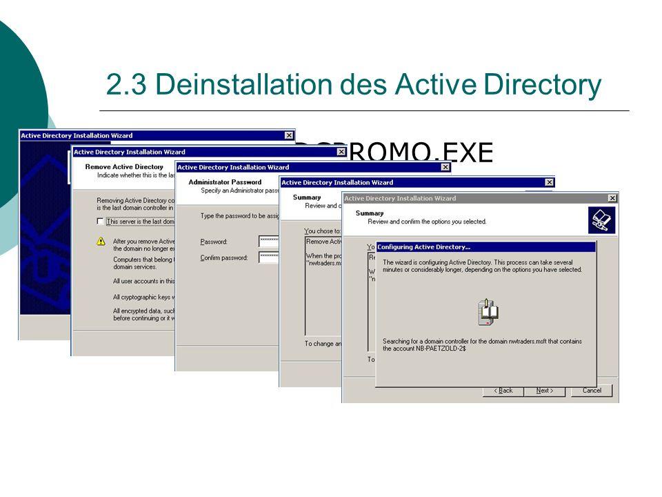 2.3 Deinstallation des Active Directory