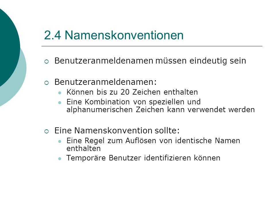 2.4 Namenskonventionen Benutzeranmeldenamen müssen eindeutig sein