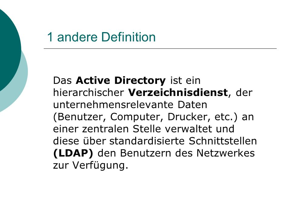 1 andere Definition