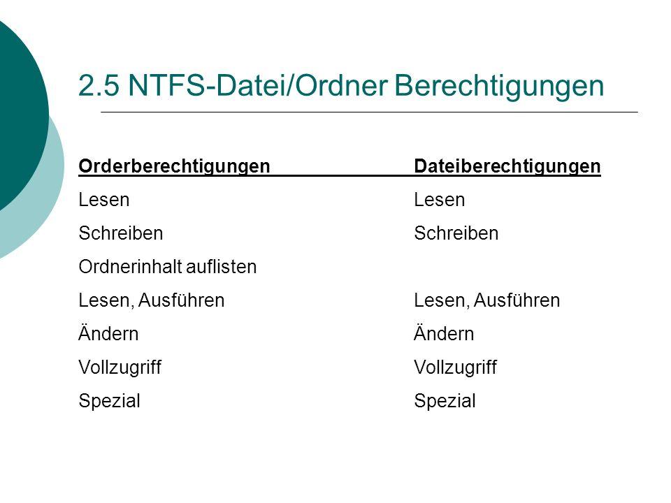 2.5 NTFS-Datei/Ordner Berechtigungen