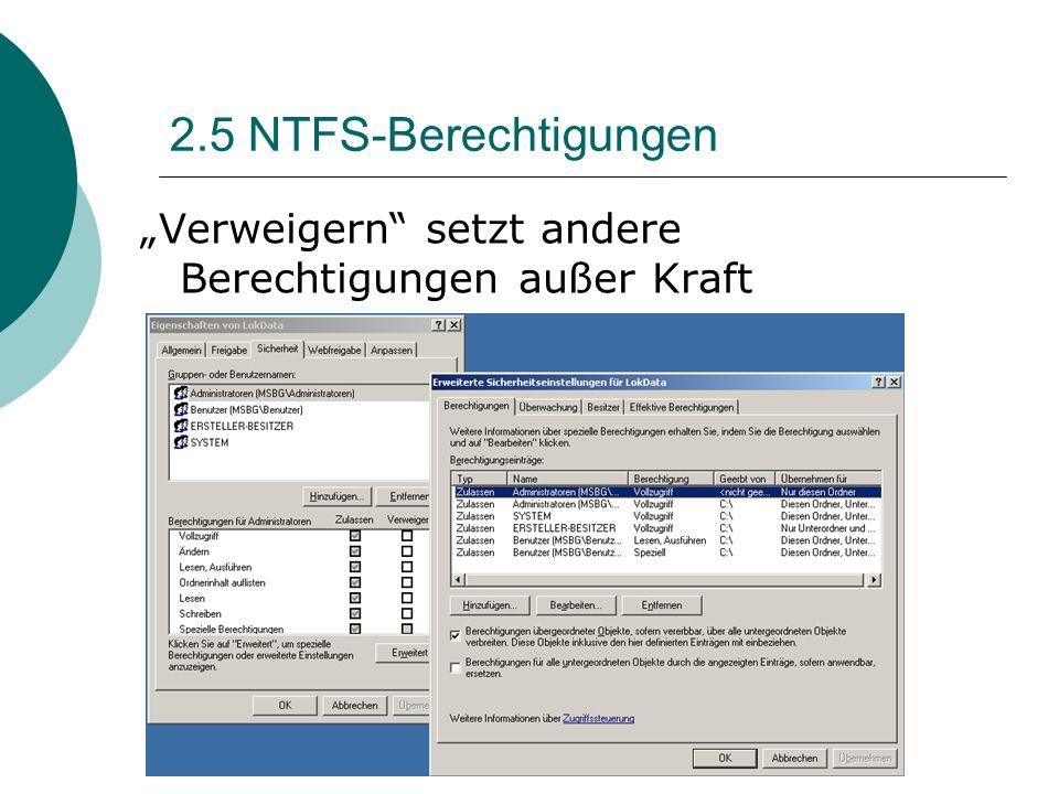 """2.5 NTFS-Berechtigungen """"Verweigern setzt andere Berechtigungen außer Kraft"""