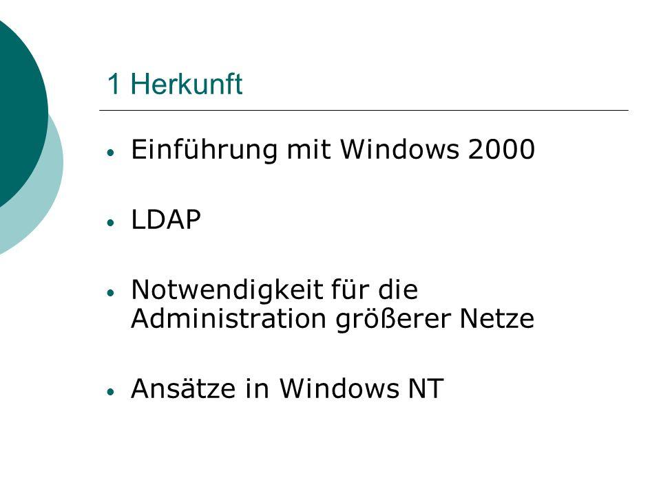 1 Herkunft Einführung mit Windows 2000 LDAP