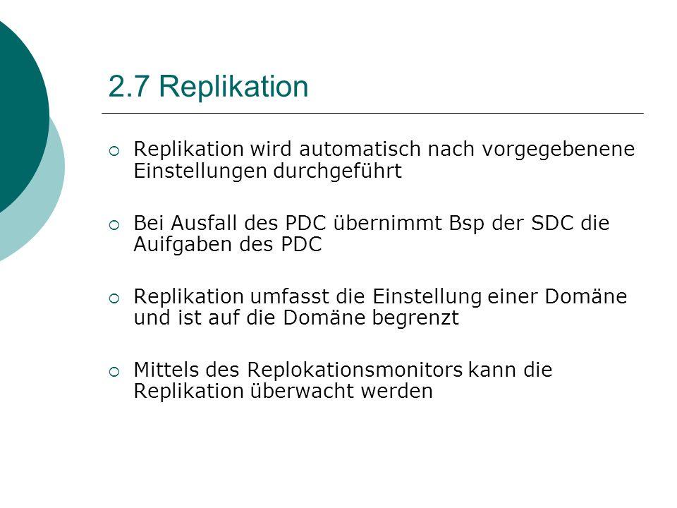 2.7 Replikation Replikation wird automatisch nach vorgegebenene Einstellungen durchgeführt.