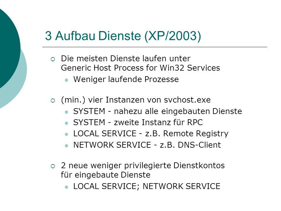 3 Aufbau Dienste (XP/2003) Die meisten Dienste laufen unter Generic Host Process for Win32 Services.
