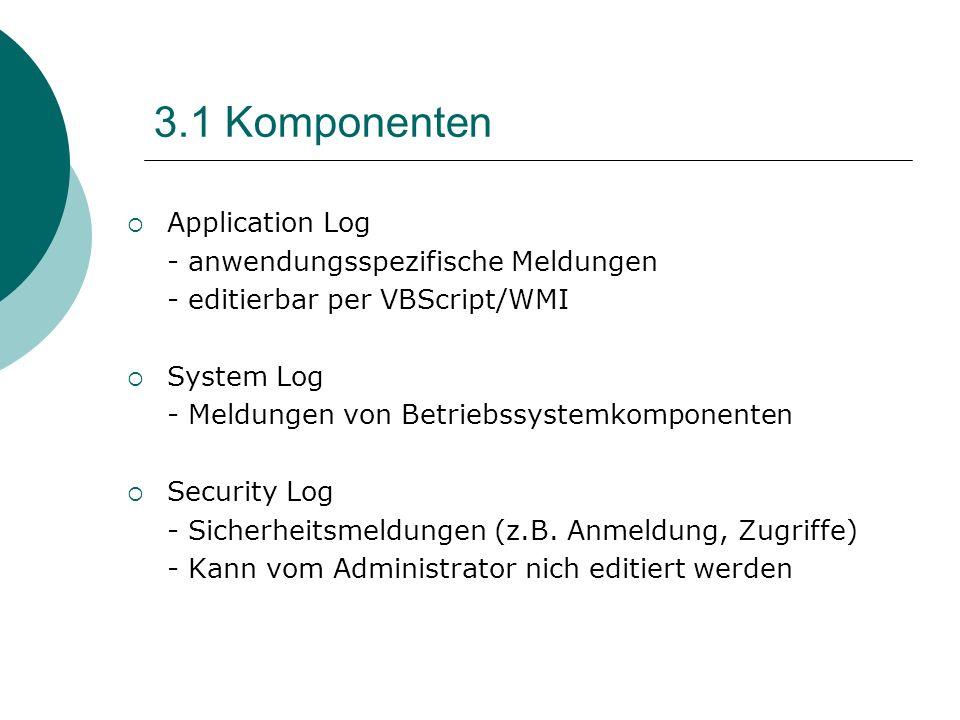 3.1 Komponenten Application Log - anwendungsspezifische Meldungen