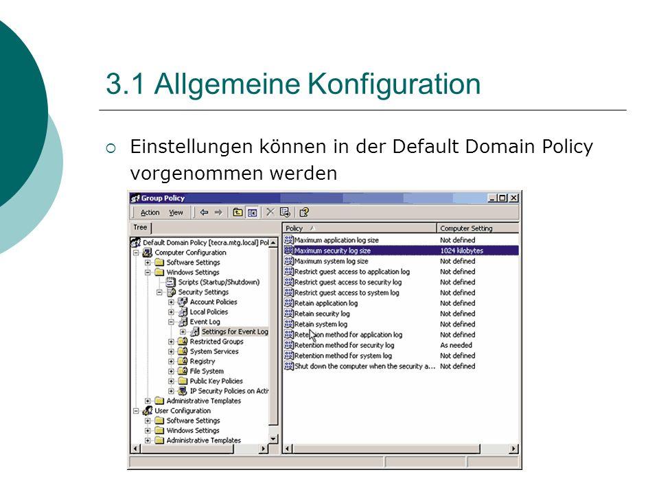 3.1 Allgemeine Konfiguration